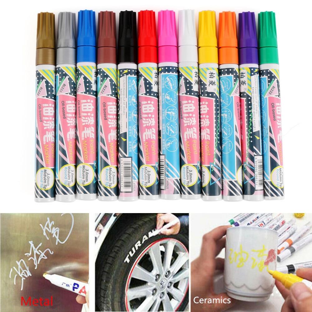 Black Paint Marker Oil Based Waterproof Pen Wood Glass Plastic Tyre Rubber G