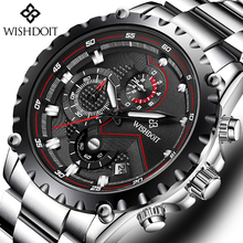 WISHDOIT Watch Men Fashion Sport Quartz Clock Mens Watches Top Brand Luxury Full Steel Waterproof Wristwatch Relogio Masculino