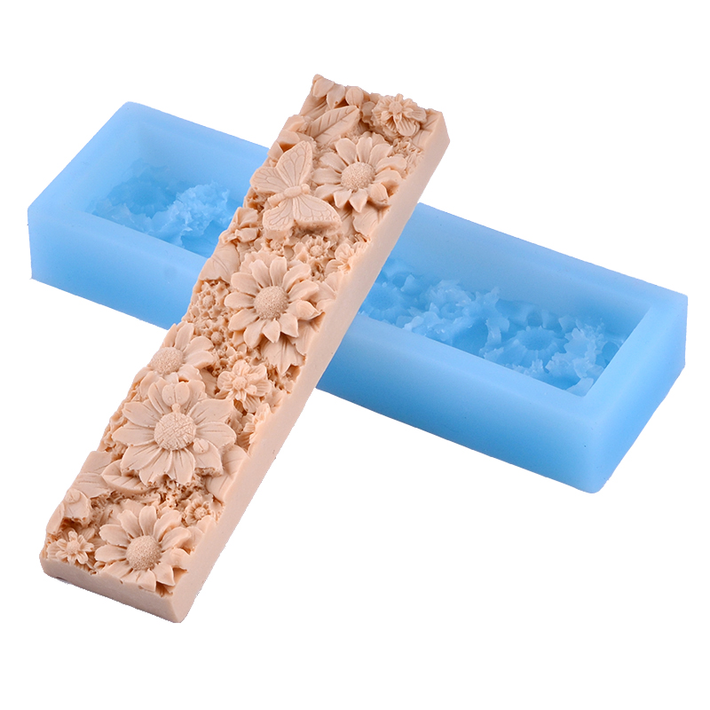 Nicole Flower Pattern Loaf Soap Silicone Mold Flat Rectangle Handmade Craft Mould