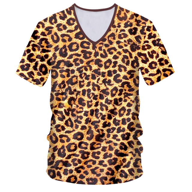 OGKB t-shirts homme nouveau col en v à manches courtes point rond 3D T-shirt imprimé Lepopard Streetwear 6XL Costume unisexe T-shirt