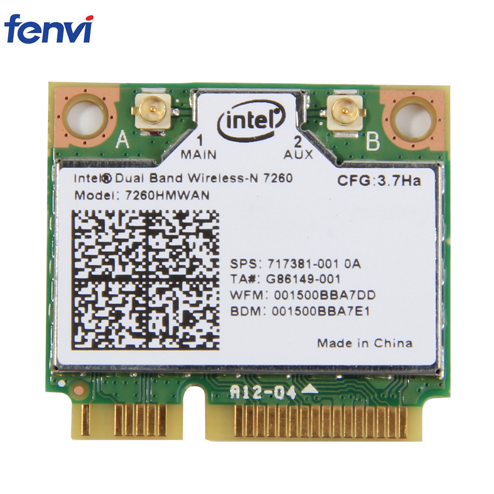 Wifi Adapter Wireless For Intel 7260HMW AN Mini PCI-E Wifi Card 300Mbps Dual Band 802.11agn 2.4G/5Ghz Bluetooth 4.0 For Laptop