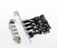4 порта USB 3,0 5 Гбит/с PCI-Express X1 карта адаптер подставка для концентратора низкий кронштейн