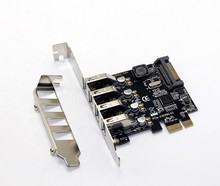 4 Port USB 3.0 5Gbps PCI Express X1 Card Adapter HUB Support Low Profile Bracket