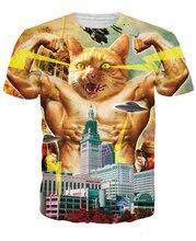 Годзилла кошку футболка в басня озера эри монстр характер женщин людей майка летние топы camiseta роковой тройники Большой размер S-XXL