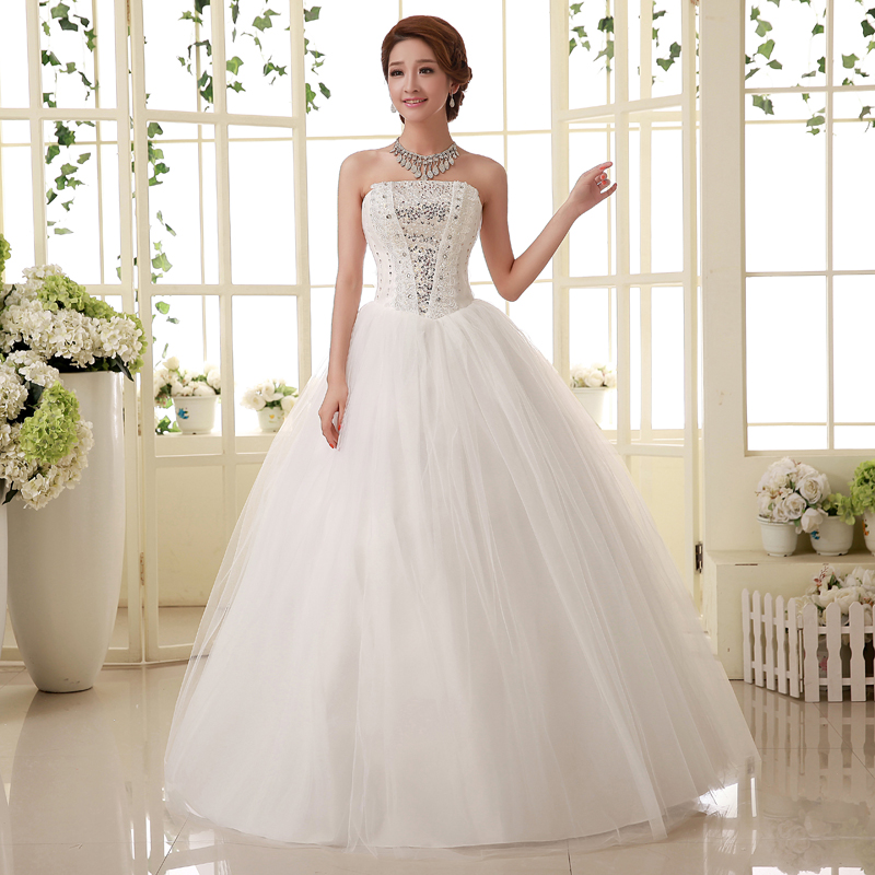 Wedding Gown Korean Style: Real Photo Customized White Princess Wedding Dresses 2016