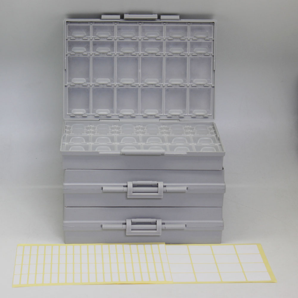 AideTek 3 unit of BOXALL48 lids empty enclosure SMD SMT organizer surface mount DE UK ship plastic part box lables 3BOXALL48 aidetek 2 box esd safe smd ic box w 144 bins anti statics smd smt organizer transistor diode plastic part box lable 2boxallas