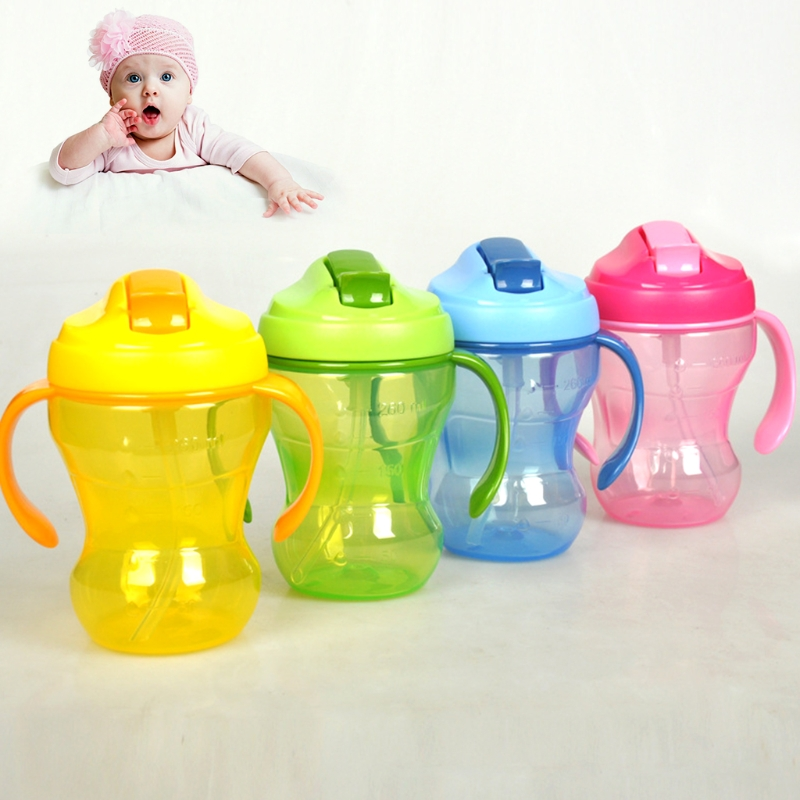 Baby Care High Quality Children Baby Infant Leak Proof Cup Learn Drinking Straw Bottle Trainer 260ml baby cups