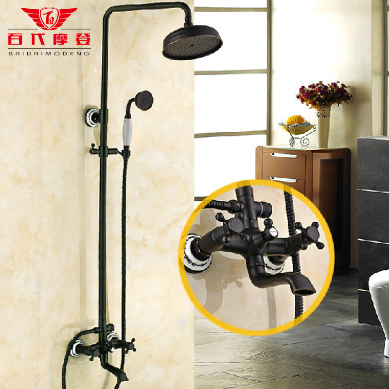 Black antique copper shower suit American European shower faucet Black Bronze shower лук jandao tzxl 66 34 black