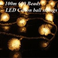 Фея 100 м 600 светодиодные лампы ватный шарик света строки елочные украшения, гирлянды Новый год праздник свадьбу лампы освещения
