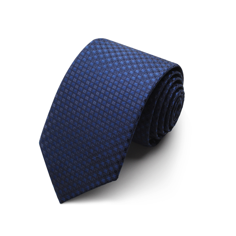 2019 New Fasion Blue Plaid Jacquard Weave Ties For Men 7cm Standard Necktie Wedding Party Men's Business Ties With Tie Gift Box