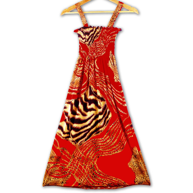 2016 New Arrival Sexy Fashion Summer Casual Printed Beach Dress With Strap Beachwear Neon Dress Wholesale
