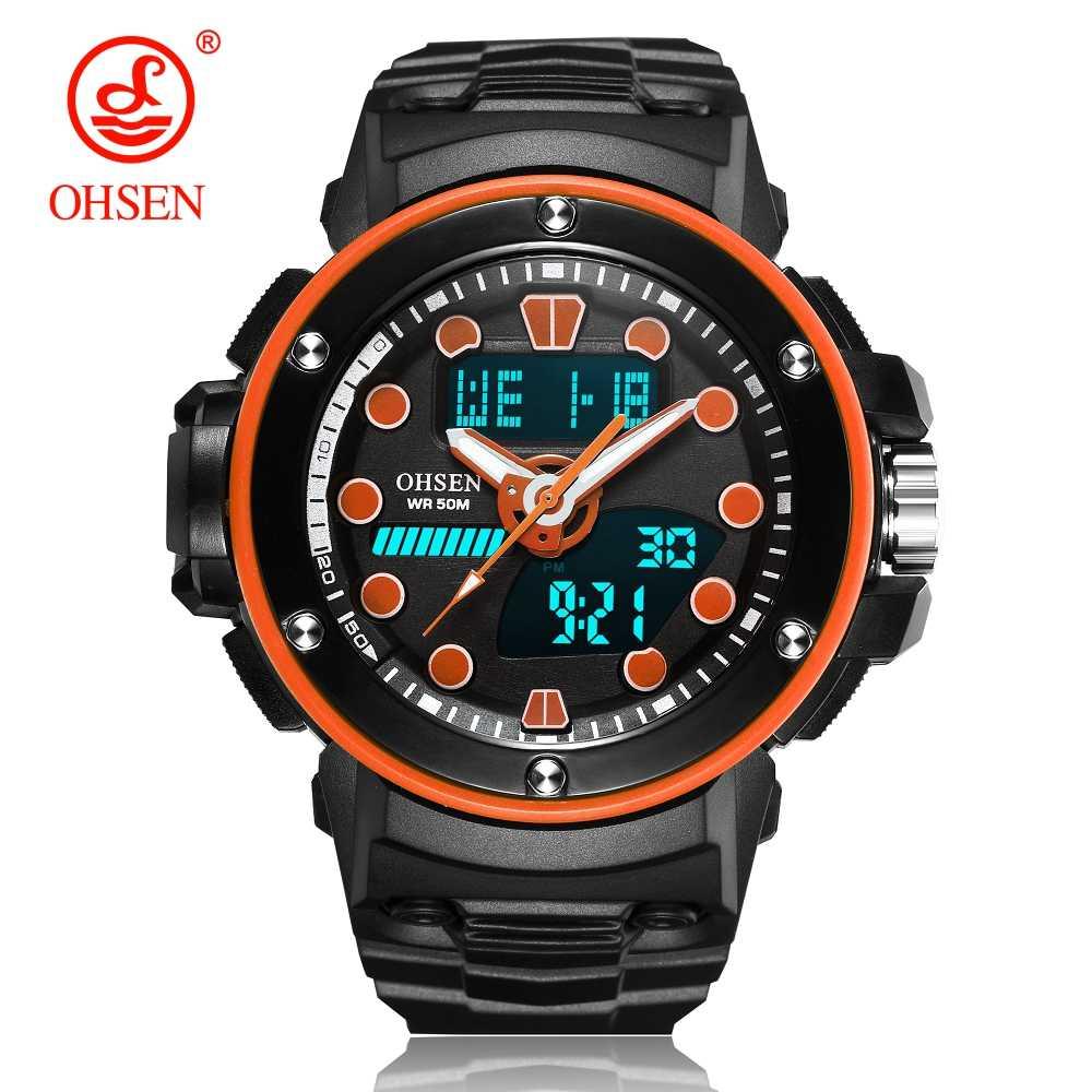 OHSEN цифровые часы мужские военные армейские спортивные оранжевые