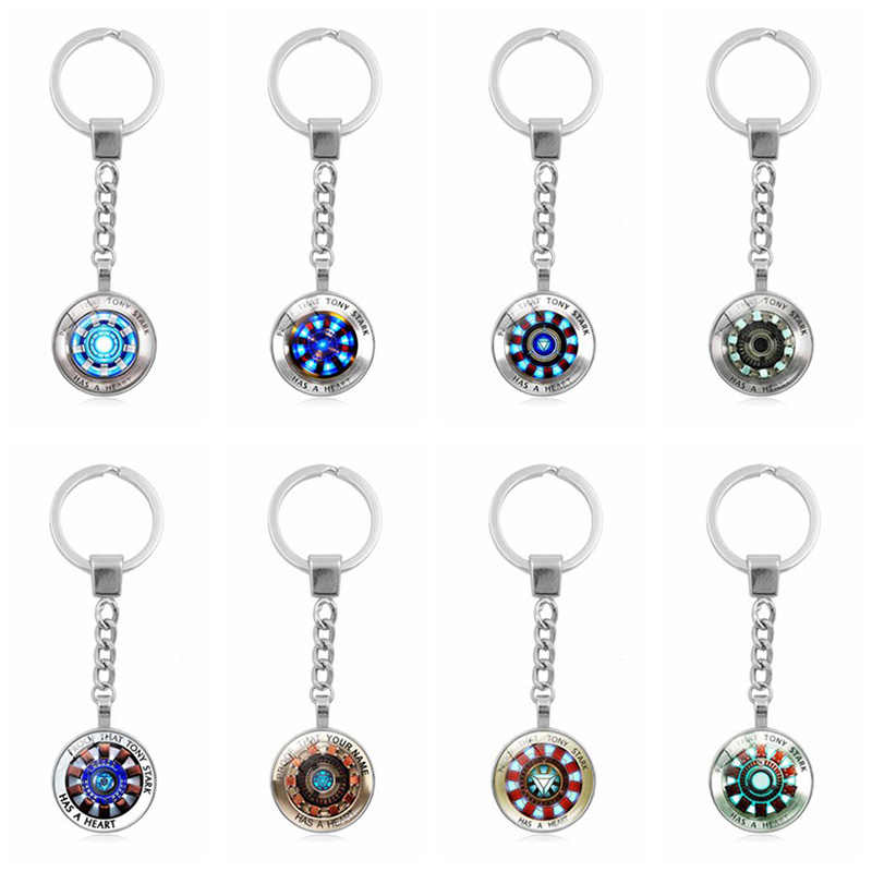 Hot Iron Man Arc Reactor Glass Dome Metal Keychain Proof That Tony Stark Has A Heart Jewelry Keyring Keychain Pendant Souvenir