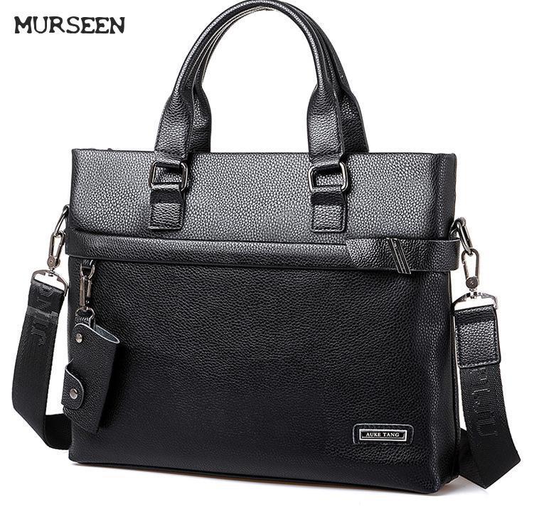 ФОТО 2017MURSEEN New laptop Briefcase Handbag Business Messenger Men Bag Leather Ordinateur Portable
