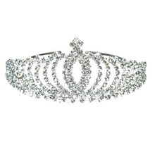 цены Diadem Silver Bride Bridesmaid Shining Rhinestone Crown Headband Tiara Wedding