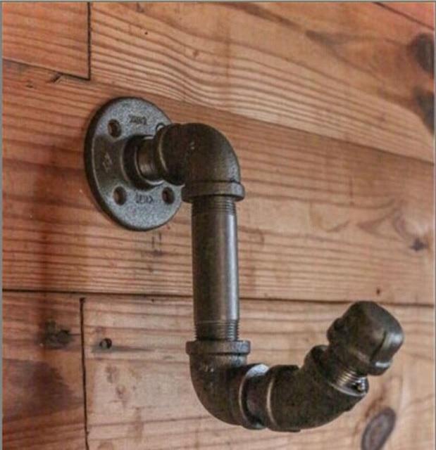 Vintage industrial water pipe coat hook for hanging ...