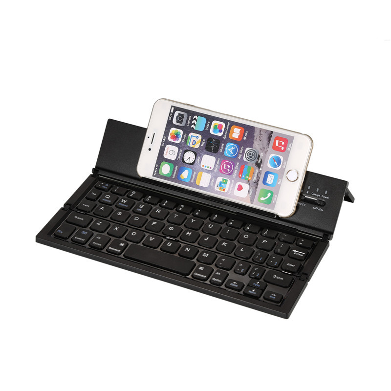 2017 New Ultra-Slim Aluminum Keyboard Foldable Bluetooth Keyboard Multiple Bluetooth Pocket Keyboard for iOS/Android/Windows PC
