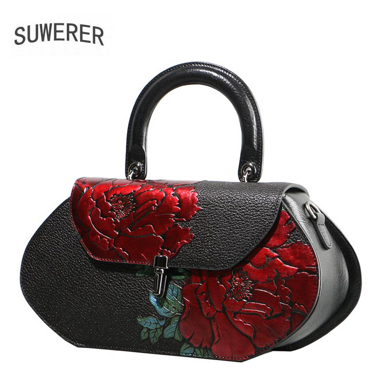 SUWERER brand bag 2018 new original banquet shoulder bag luxury print crossbody bag Fashion leather handbag