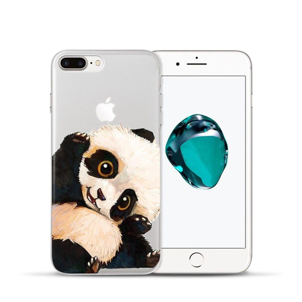 Cute Panda Hamburgers Flower Mandala Henna Clear Case For iphone X 5s SE 6 6S 7 8 Plus 6Plus Phone Cases Fashion Cartoon Coverr