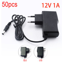 50PCS 100 240V AC to DC Power Adapter Supply Charger Charging adapter 12V 1A 1000mA 5.5mm x 2.1mm for LED Strip Light CCTV