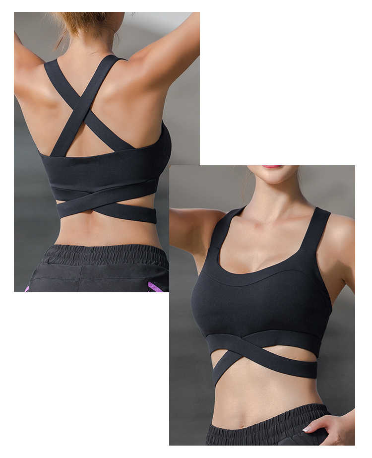 1d626b6e47 ... Oyoo Purple Strappy High Impact Sports Bra Sexy Cropped Yoga Tops Black  Activewear Contrast Grey Workout ...
