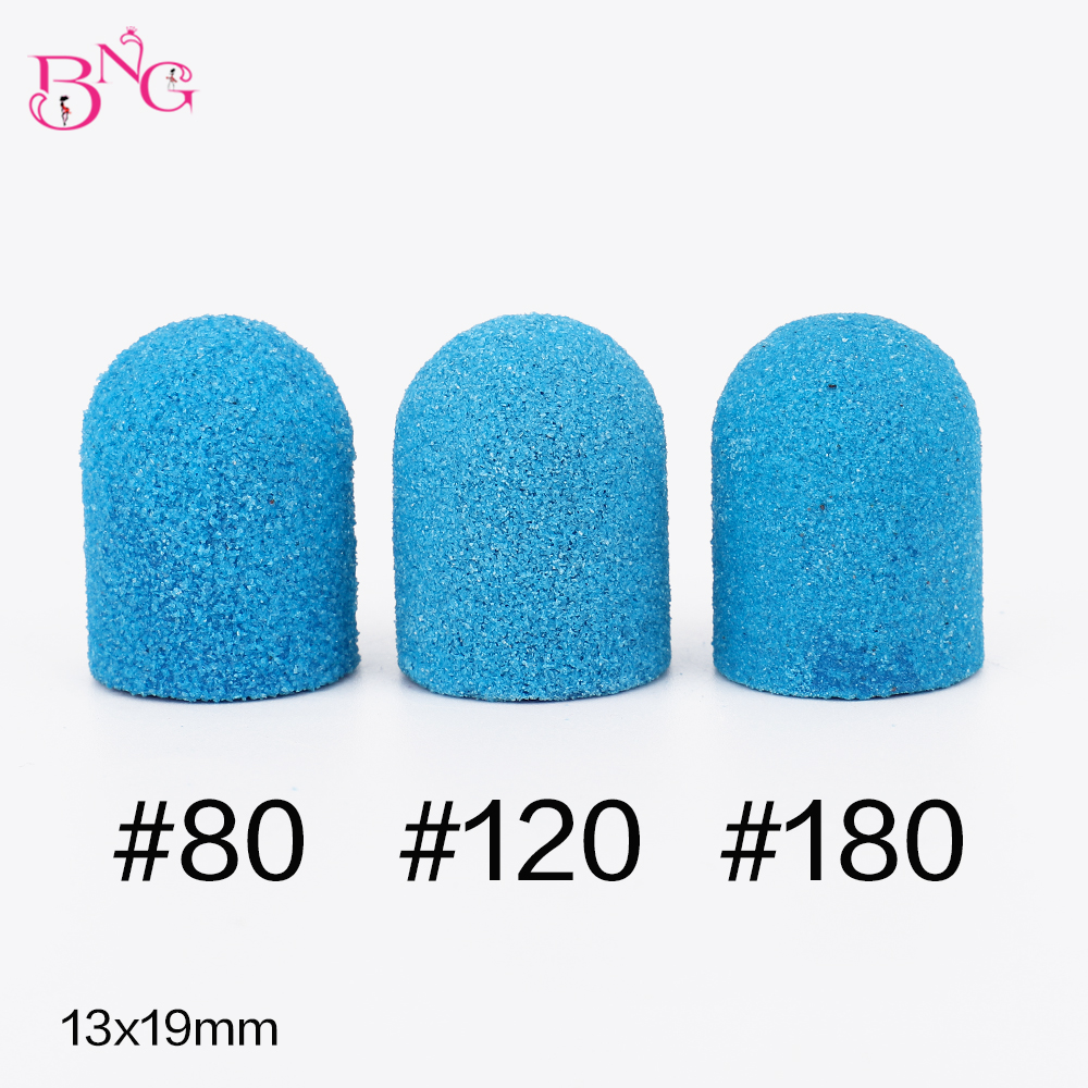 5pcs Blue Sanding Bands Block Caps Grip120# 80# 180# Sanding Caps Manicure Pedicure Electric Nail Drill Bits Cutters