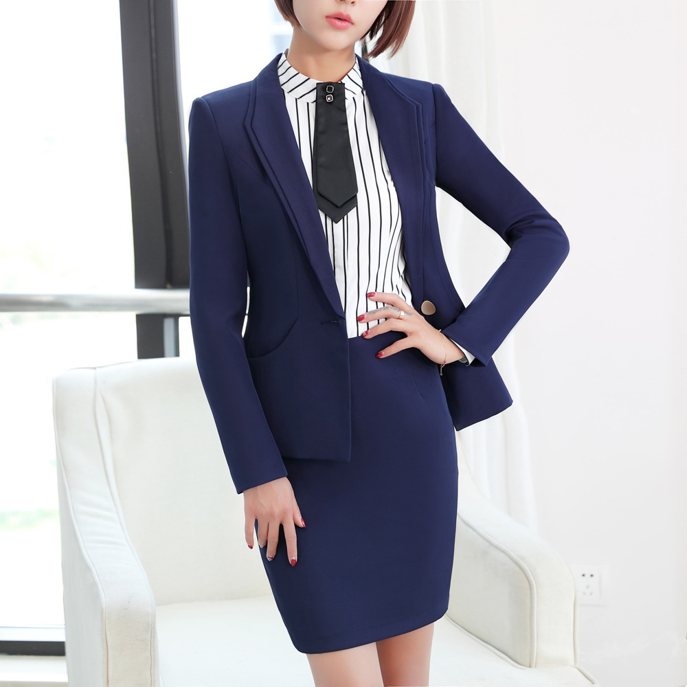 Winter work wear women pants suits slim fashion elegant formal black long sleeve blazer with skirt trousers office ladies suits