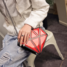 Super Quality Women Bags 3D Diamond Shape Shoulder Chain Lady Girl Messenger Small Crossbody Satchel Evening zipper hangbags