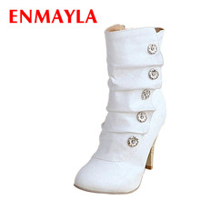 ENMAYER NEW 2015 winthe Sexy style PU women boots for lovely Fashion Snow shoes motorcycle size 34-39