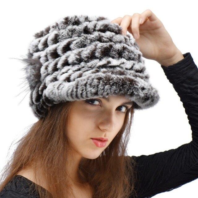 0ef2a2dafdb 2016 New Women Knit Rabbit Fur Hat Winter and Autumn Cap Casual Hat Fashion  Lady Hat