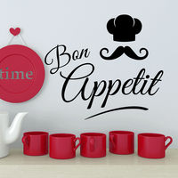 Bon Appetit Wall Decals Quote Decal Kitchen Cafe Decor Interior Art Vinyl