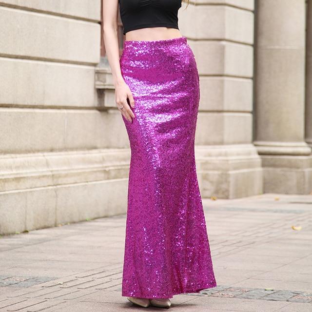 1658d78a8b Gold Long Skirt Hot Sequins Women faldas Sparkle Glitter Maxi Skirts  Elegent Party Cocktail Ladies Petticoat Purple Red 2XL