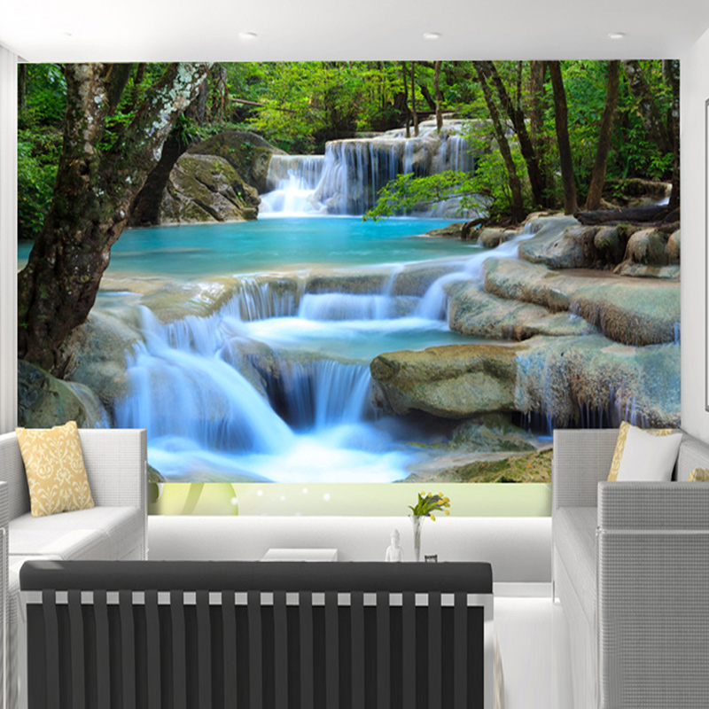 Custom 3D Mural Wallpaper Chinese Style Waterfalls Landscape Background Wall Painting Living Room Bedroom Home Decor Wall Papers