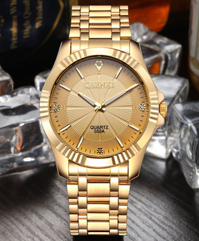 Gold Stainless Steel Quartz-Watch Wrist Watch 3