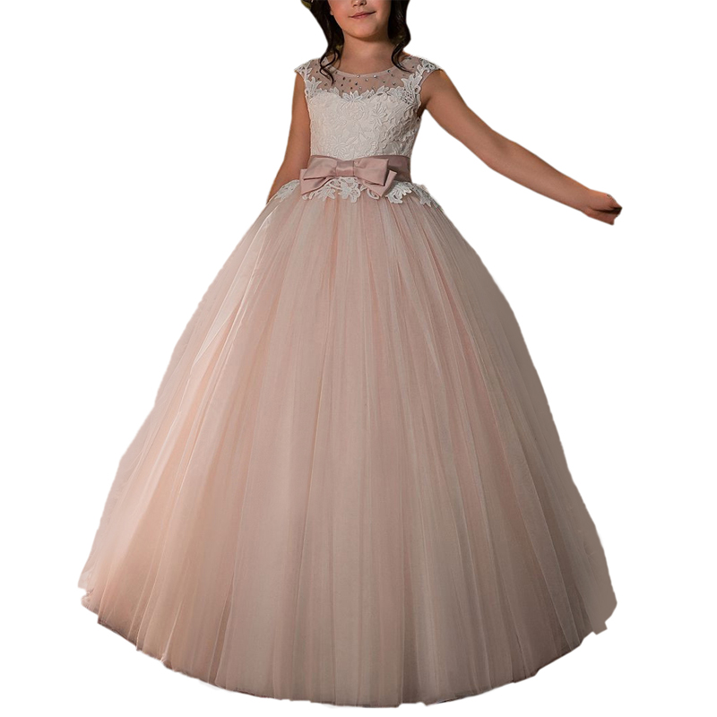 pink little girls tulle dress long kids first communion dresses beaded lace flower girls dress with bow party dresses for girls цены онлайн