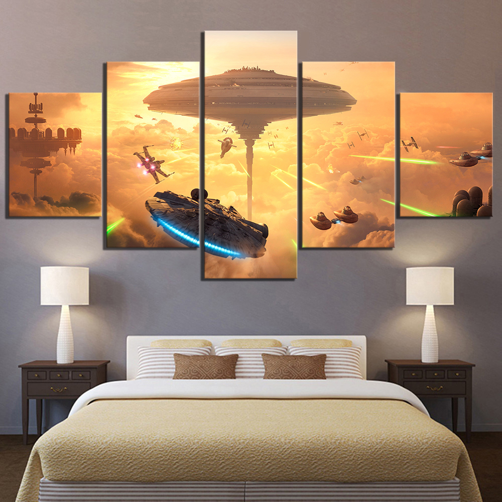 5 Piece HD Fantasy Art Spaceship Pictures Star Wars Battlefront Bespin Video Game Poster Paintings Canvas Art for Wall Decor image
