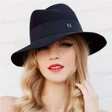 HSS Brand Woolen hat female spring and winter in Europe and America tide British style jazz hat Large brimmed hat