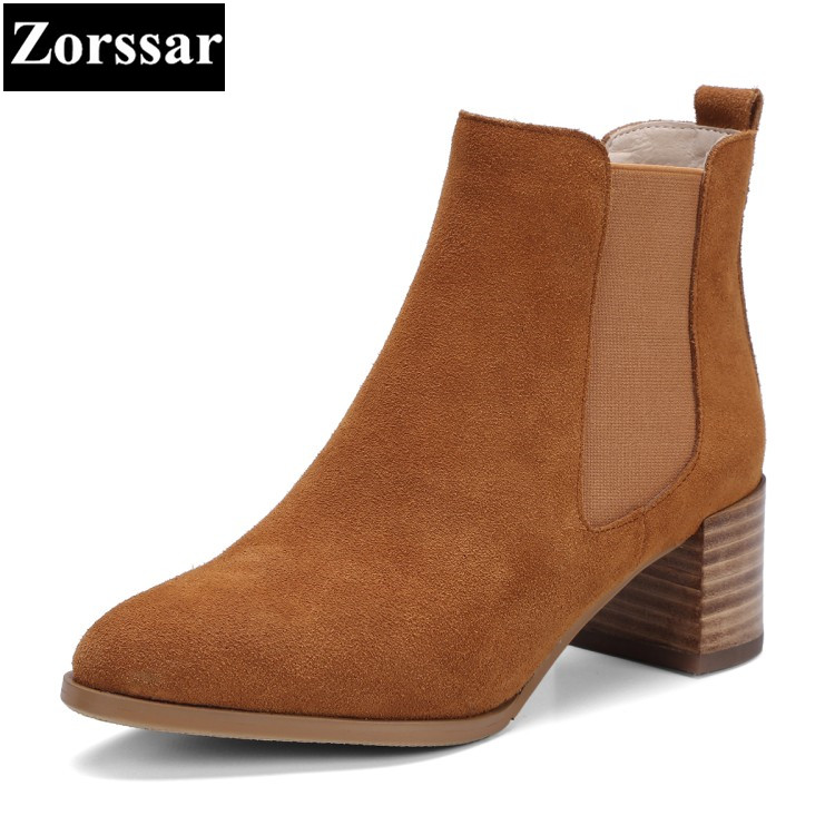 {Zorssar} 2018 NEW arrival fashion Retro thick heel short Boots Cow Suede High heels women ankle boots winter warm women shoes цена 2017