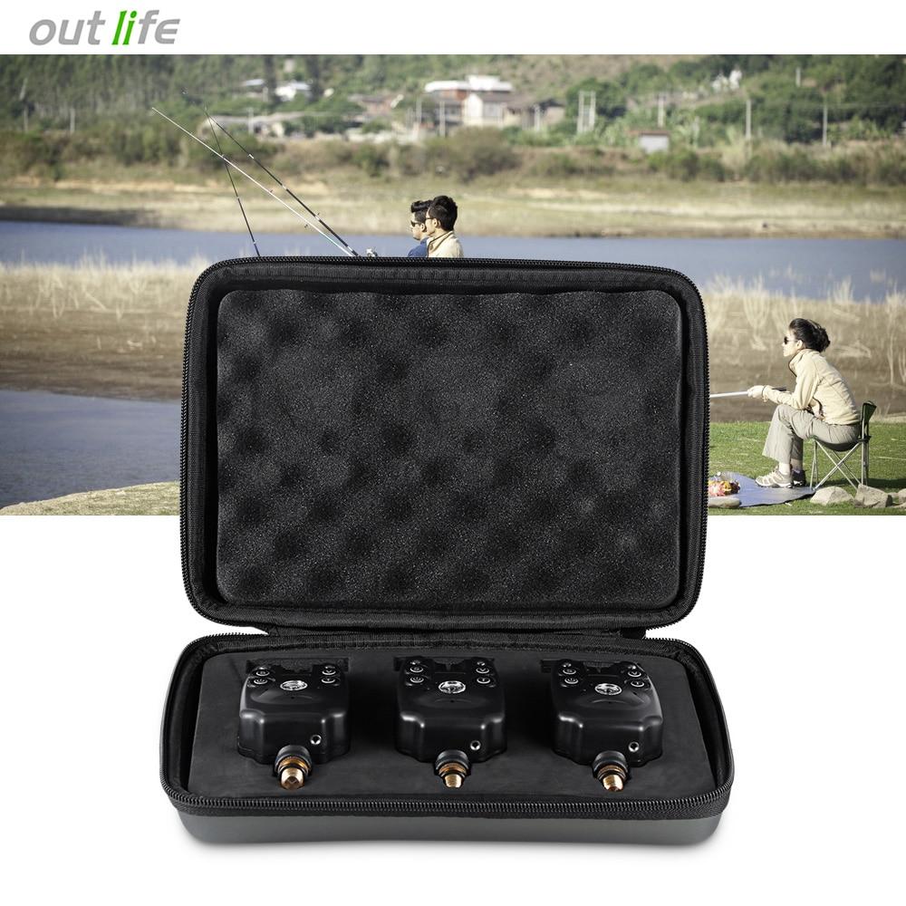 Outlife JY - 1 - 3 3pcs / Box Wireless Fishing Bite Alarm Alarming Signals ABS 2 Blue LED Fishing Swinger 2017 NEW
