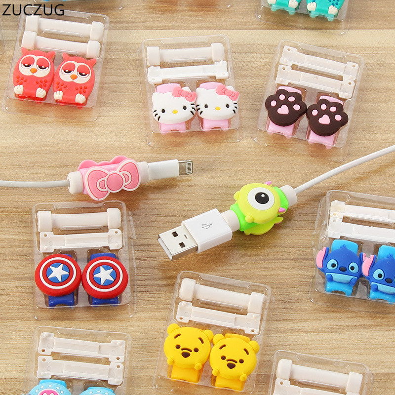 ZUCZUG 1 Cute Lovely Cartoon 8 Pin Cable Protector De Cabo USB Cable Winder Cover Case For IPhone 5 6splus Cable Protect Stitch