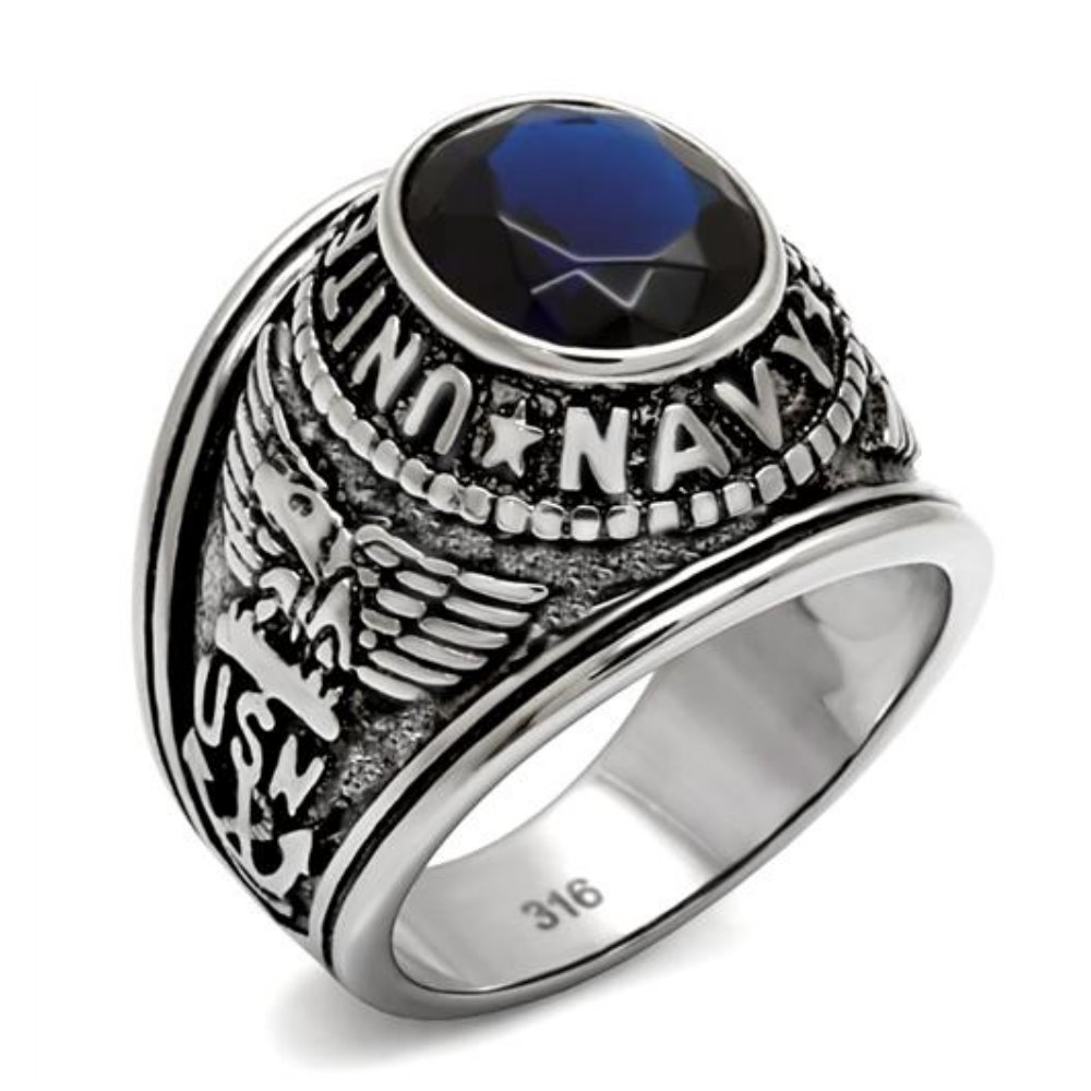 United Marine Corps Military Men Ring High Polished Stainless Steel Ip  Color Montana Stone Material Stainless