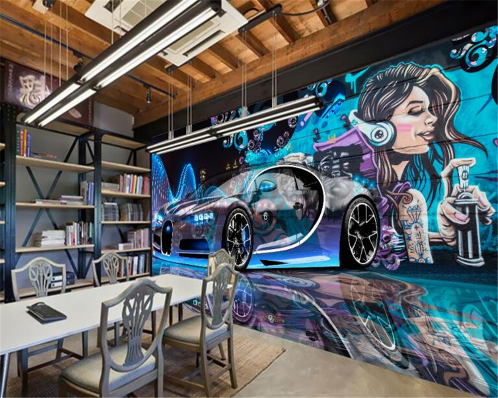 beibehang <font><b>3d</b></font> personality fashion street graffiti beauty <font><b>car</b></font> vinyl tool <font><b>wallpaper</b></font> wall decoration paper plastic background wall image