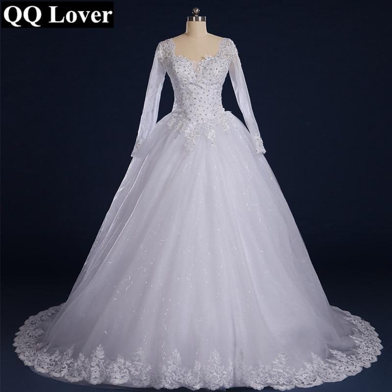 QQ Lover 2017 Luxury Vintage Long Sleeves Lace Wedding Dress Princess  Casamento Romantic Vestido De Noiva With Real Pictures 54e62183b34c