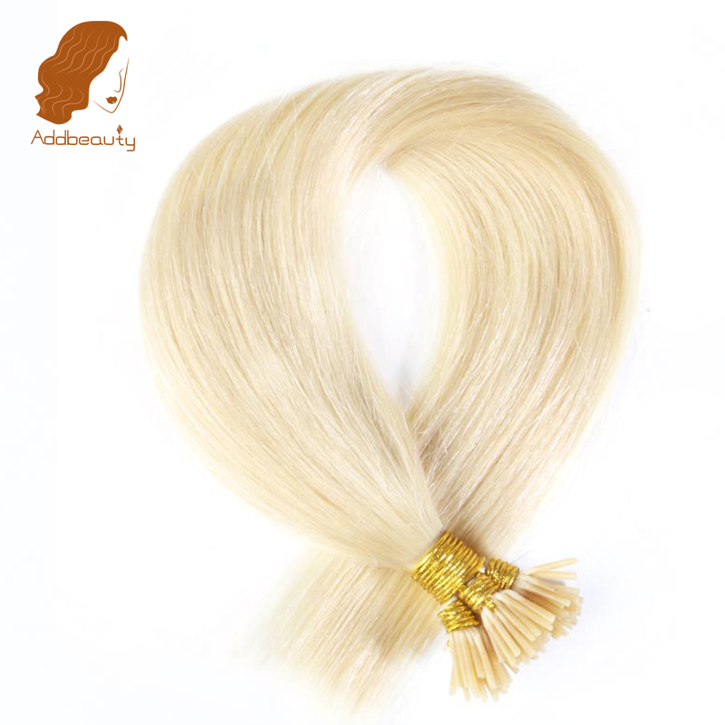 Addbeauty Brazilian Straight Remy Hair Extensions 613 blonde color 0 5g Stand 16 18 20 Straight