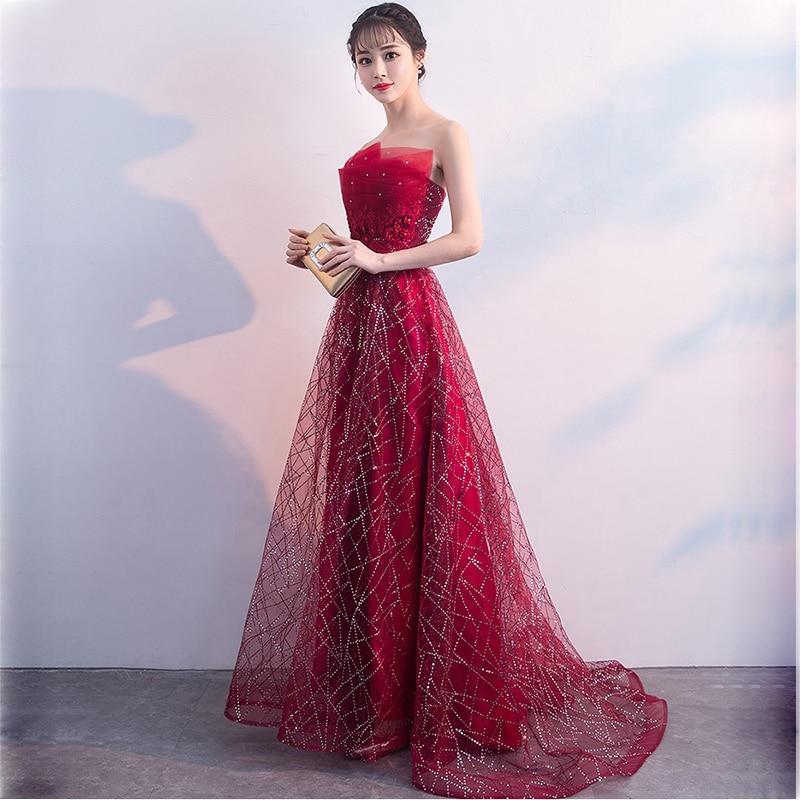 0b136e2df86 KULAZOPPER Women Elegant Long Dress Lace Beaded Starry Sky Prom Gown Off  Shoulder Strapless Evening Gown Vestido De Festa ZS288-in Dresses from  Women s ...