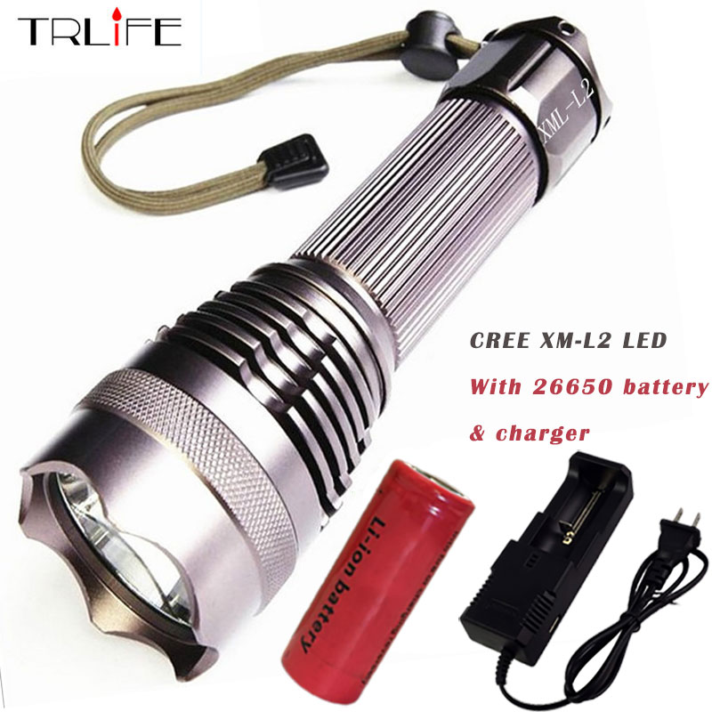 Powerful CREE XM-L2/T6 LED Flashlight 5 Modes Diving Lanterna LED Tactical Torch with 26650 Rechargeable Battery & Charger nitecore mt10a 920lm cree xm l2 u2 led flashlight torch