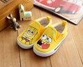 Causales zapatos de bebé encantador lindo de la historieta de Bob esponja patrón zapatos de lona para 1-3yrs bebé recién nacido infantil niños zapatos al aire libre caliente
