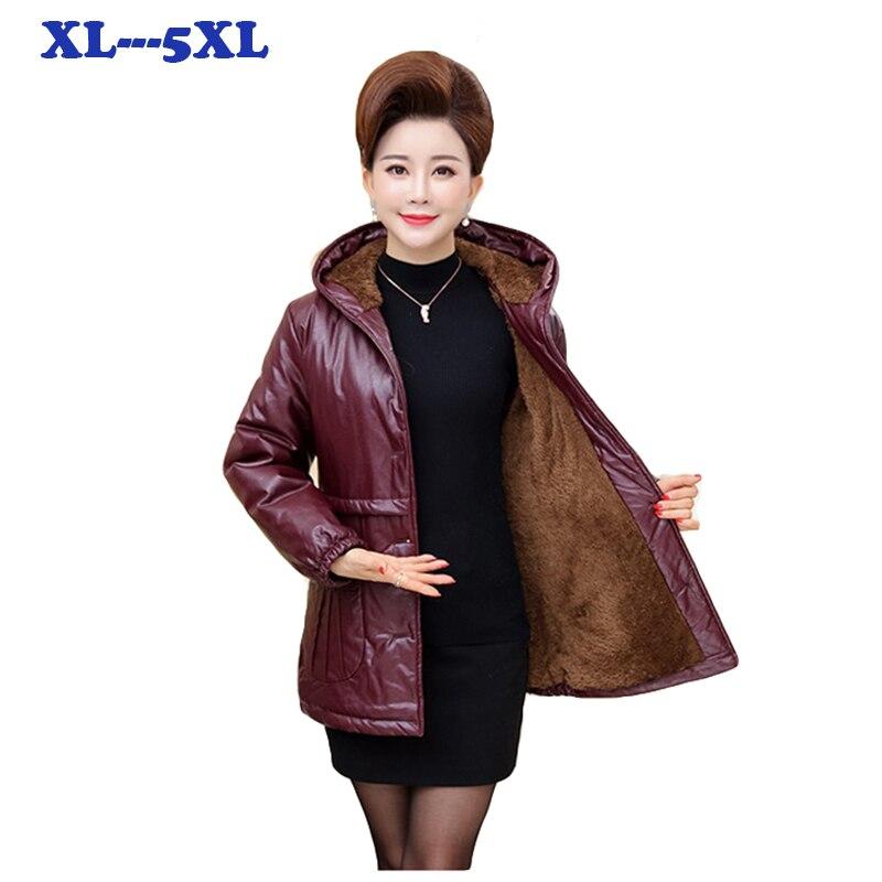 Grande taille de Femmes PU Veste En Cuir Plus de velours Épaissir Manteaux D'hiver de Femmes Manteau Chaud Pardessus En Cuir femelle mince manteaux