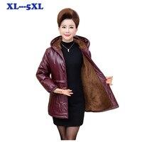 Large size Women's PU Leather Jacket Plus velvet Thicken Coats Winter Women's Warm Coat Leather Overcoats female slim coats