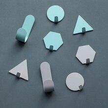 4 шт. креативный настенный крючок из кованого железа, небольшой крючок для украшения, геометрические мини-двери, крепкие липкие крючки для ванной комнаты